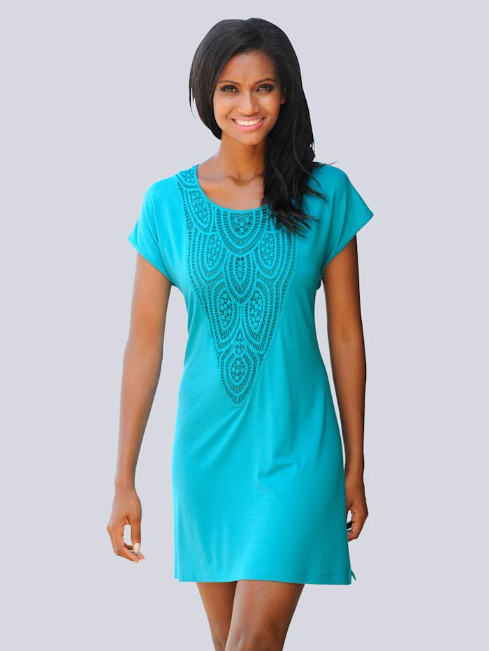 Alba Moda Shirt met kanten inzet, turquoise
