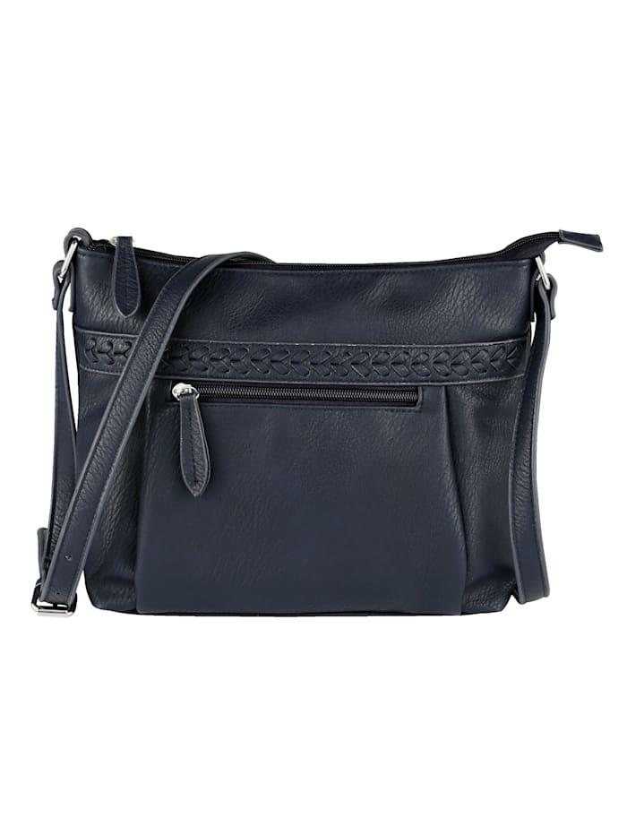 Aimée Shoulder Bag with textured panel detail, Navy