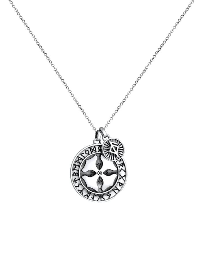 Halskette Herren Runenkreis Kreuz Gesundheit 925 Silber