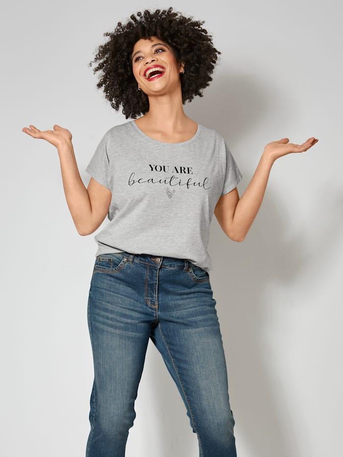 Janet & Joyce Shirt mit angesagtem Statementprint, Hellgrau