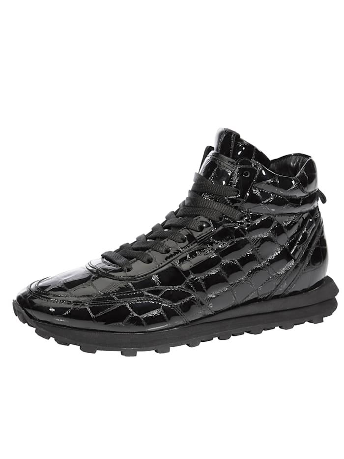Kennel & Schmenger Sneakers montantes en cuir verni reliéfé, Noir