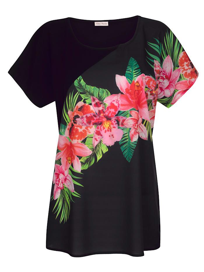 Alba Moda Strandshirt van een materialenmix, zwart/multicolor