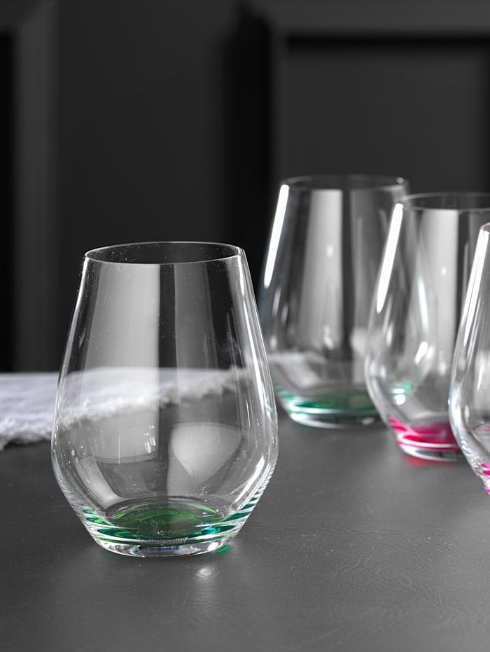 Villeroy & Boch 4 glas med färgad botten – Colourful Life, grön, grön