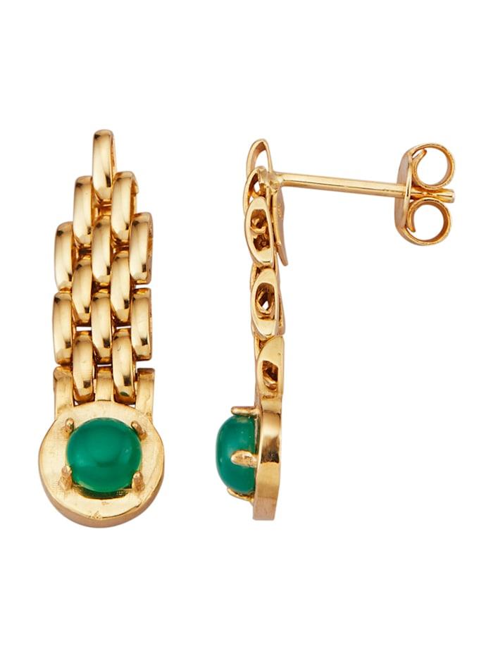 Diemer Farbstein Ohrringe mit Smaragden, Grün