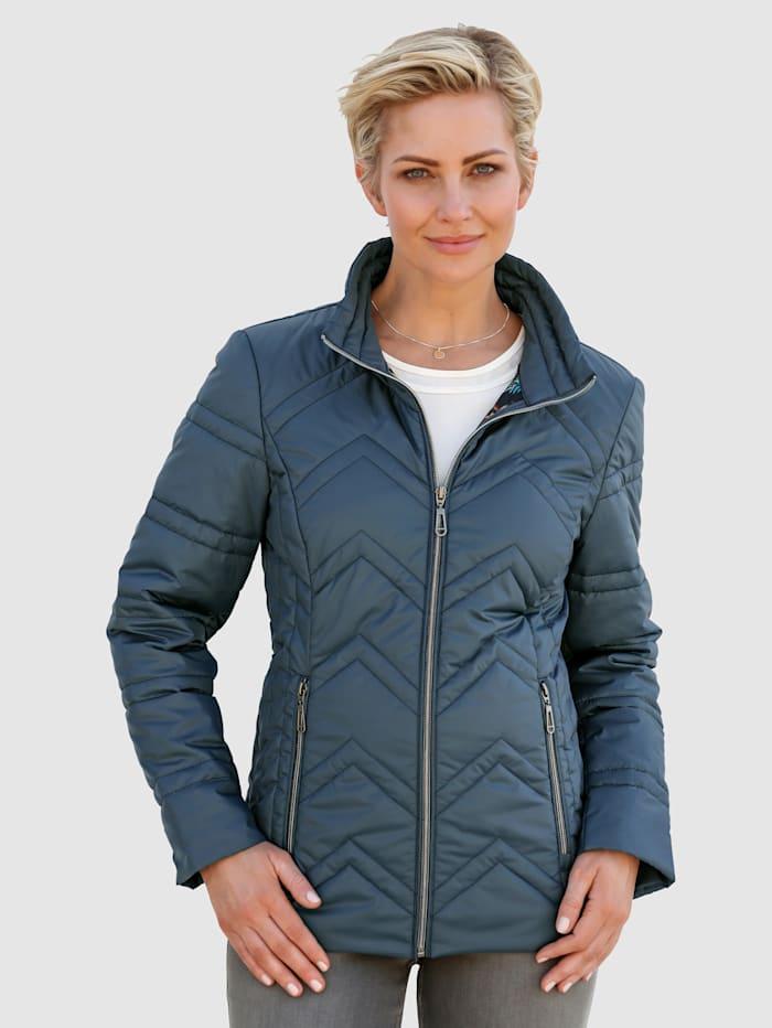 MONA Gewatteerde jas met smalle lengtestiksels, Petrol