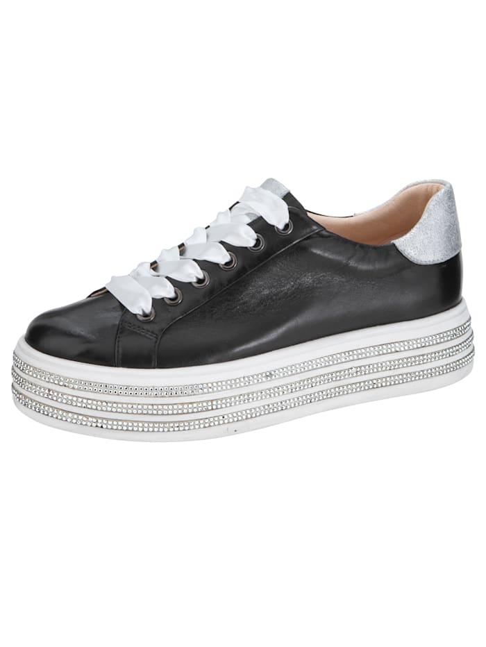 Tizian Sneaker met glittersteentjes aan de zool, Zwart