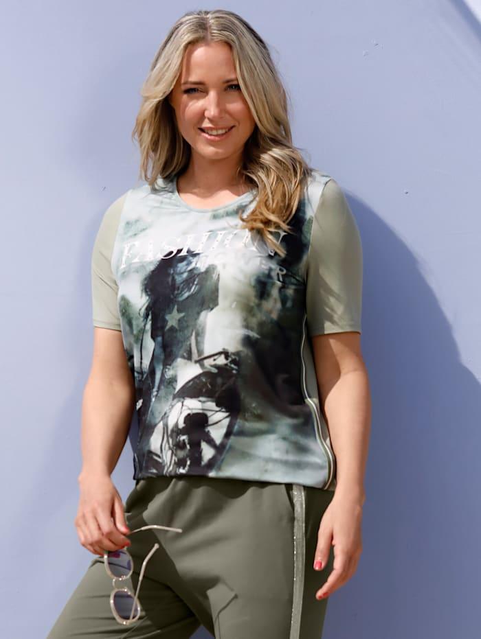MIAMODA Shirt met print voor, Pistache