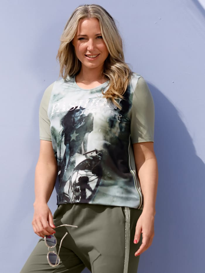 MIAMODA T-shirt à imprimé mode, Pistache