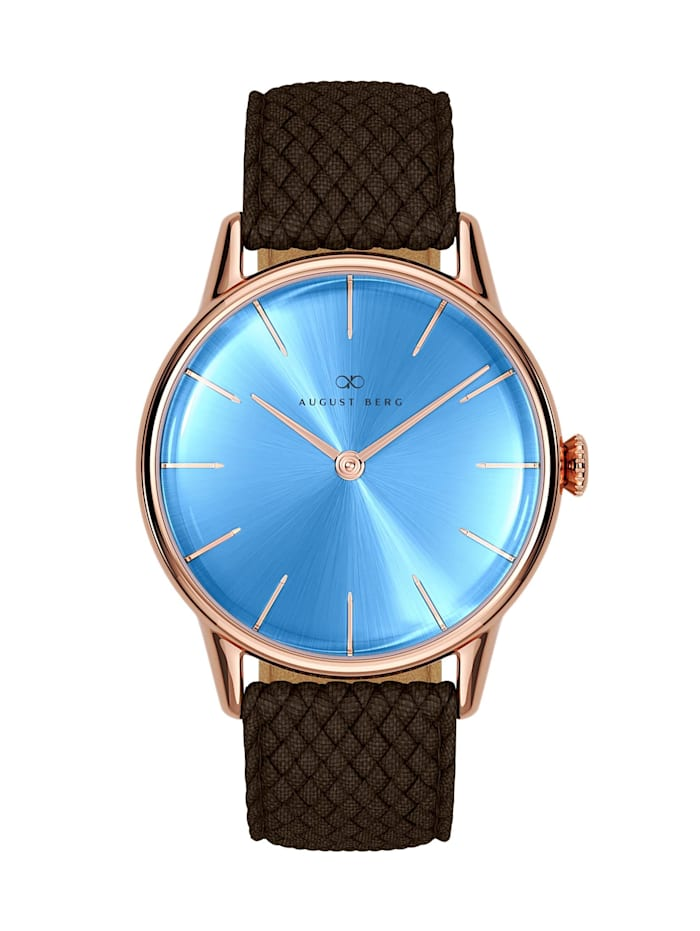 August Berg Uhr Serenity Sky Blue Dark Brown Perlon 32mm, sky blue