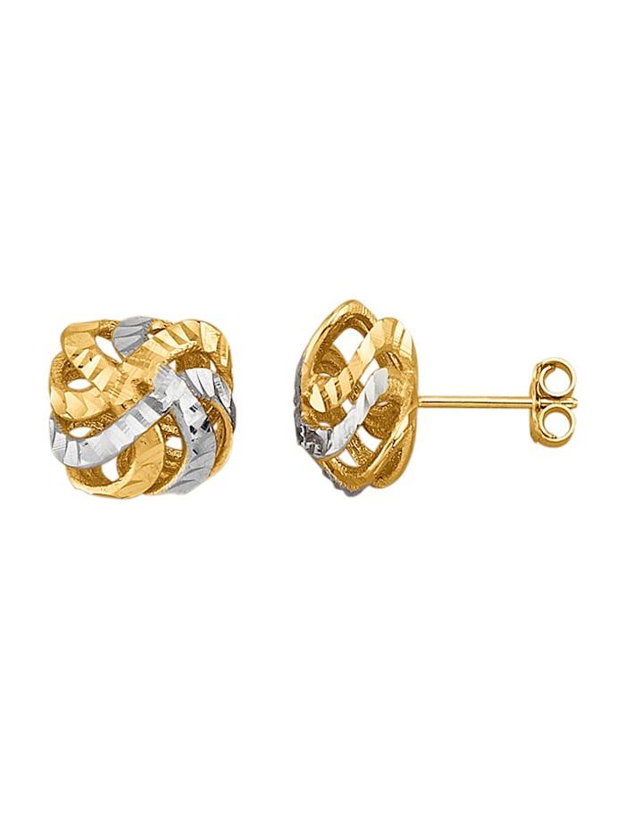 """Amara Or Boucles d'oreilles """"Nœud"""" en or jaune 585, Coloris or jaune"""
