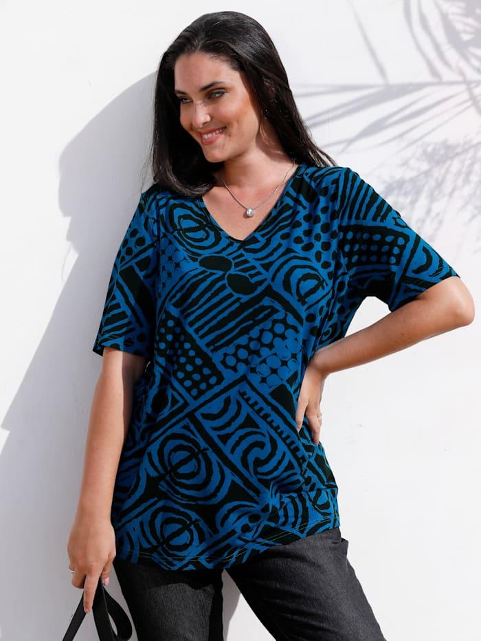 MIAMODA Shirt mit grafischem Muster, Royalblau/Schwarz