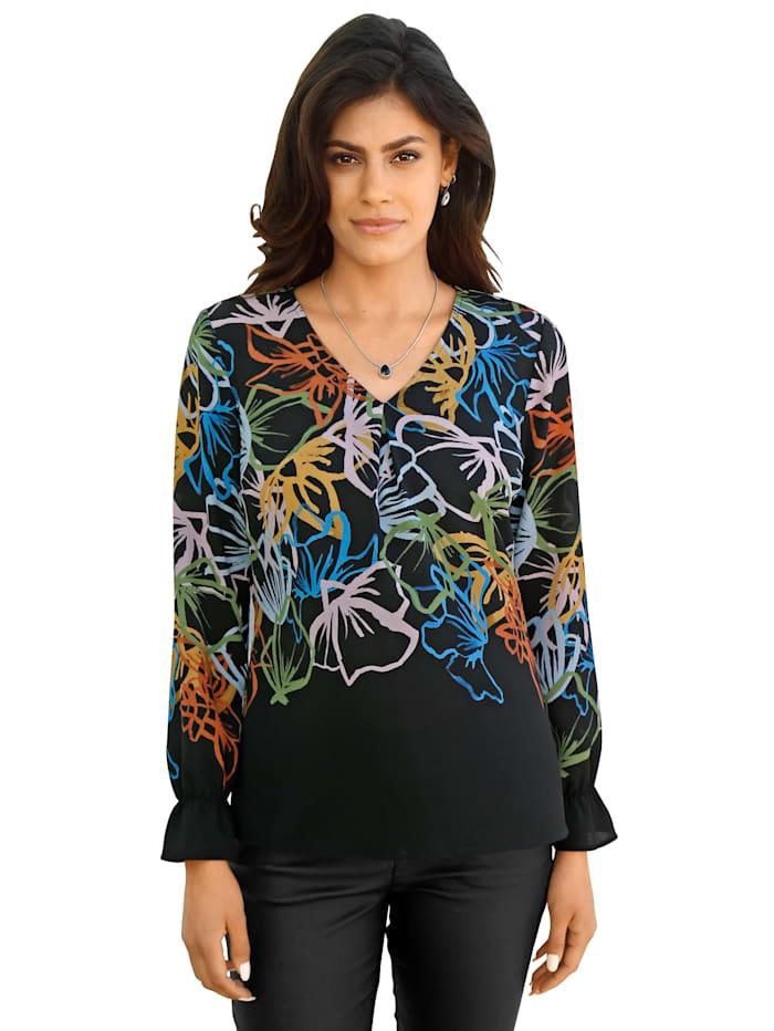 AMY VERMONT Bluse mit floralem Muster, Schwarz/Gelb/Blau