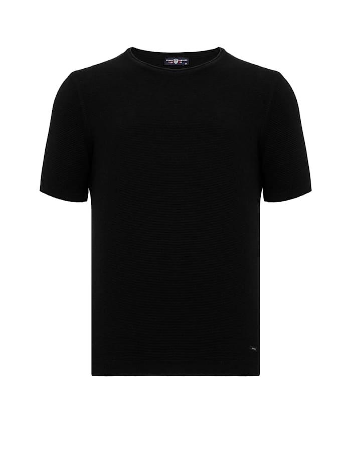 Jimmy Sanders Kurzarm Sweatshirt Zetico mit unifarbenem Stoff, black