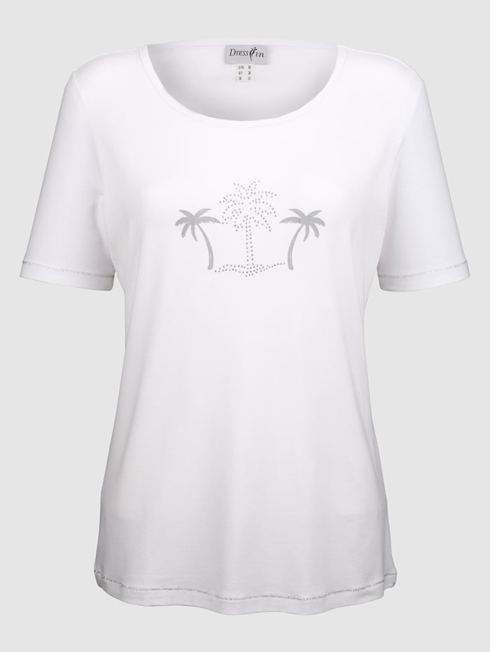 Dress In Top with palm tree print, White