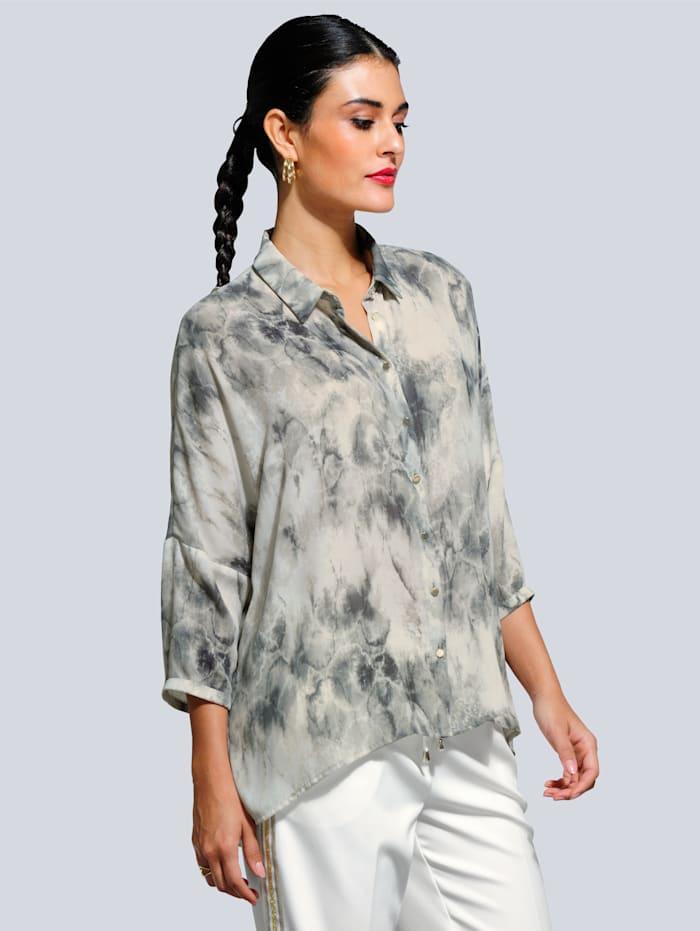 Alba Moda Bluse mit tollem Batik-Dessin, Off-white/Grau