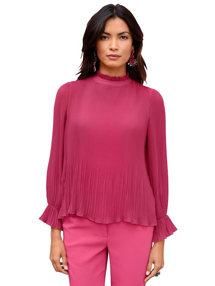 AMY VERMONT Blouse met plissé rondom, Pink
