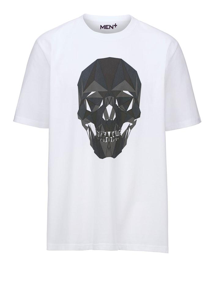 Men Plus Pääkallopainettu T-paita, Valkoinen/Harmaa