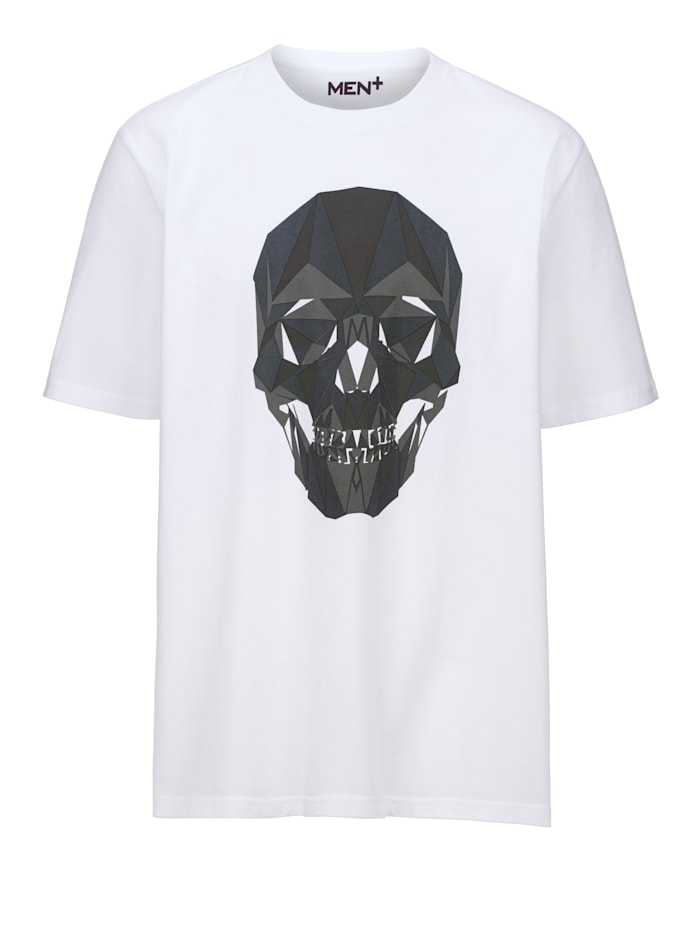 Men Plus T-Shirt aus reiner Baumwolle, Weiß/Grau