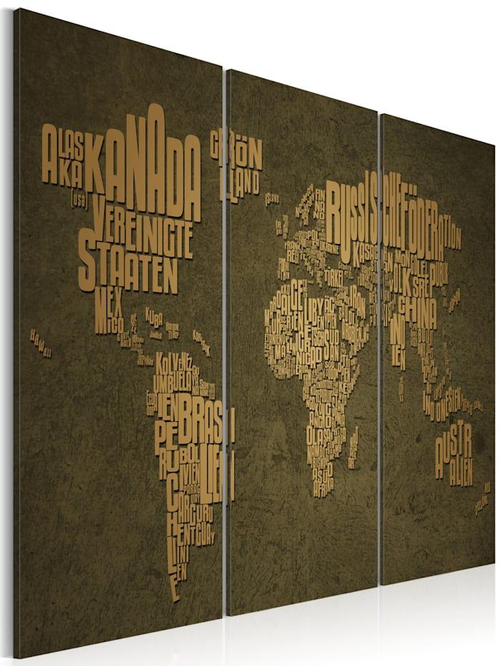 artgeist Wandbild Weltkarte, deutsche Sprache: beige Kontinente - Triptychon, Beige,Creme