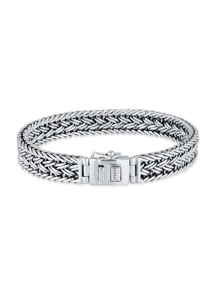 Kuzzoi Armband Unisex Panzerarmband Kastenverschluss 925Er Silber, Silber