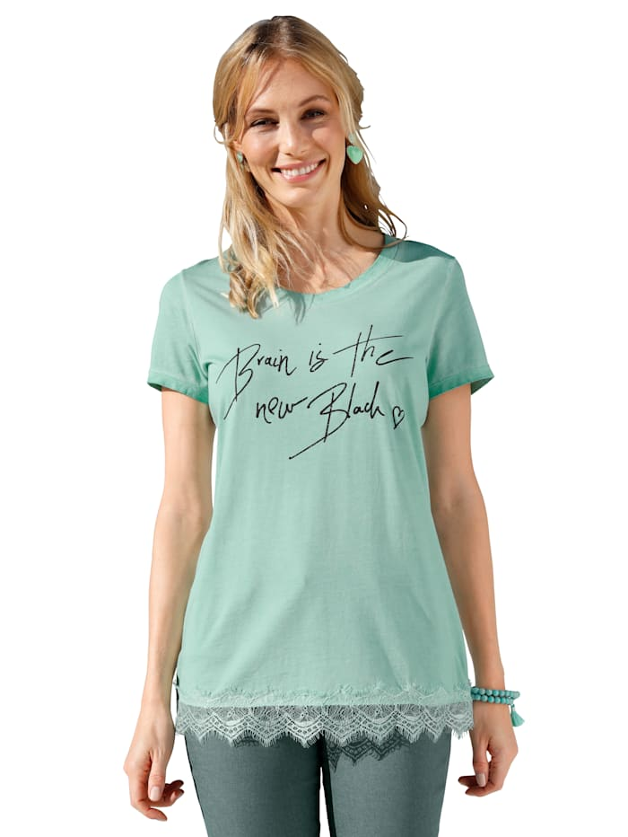 AMY VERMONT Shirt mit Giltzer-Druck, Türkis