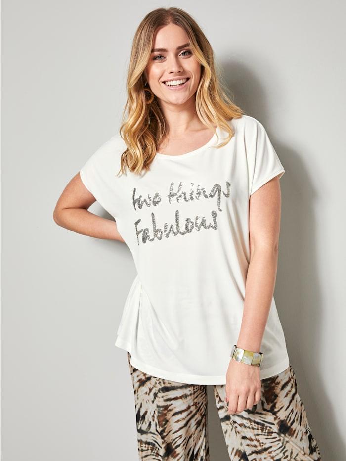 Sara Lindholm Shirt mit Pailletten, Off-white