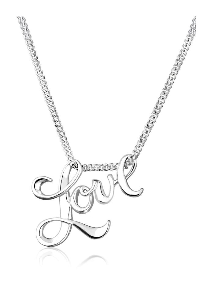 Elli Halskette Love Liebe Schriftzug Wording 925 Sterling Silber, Silber