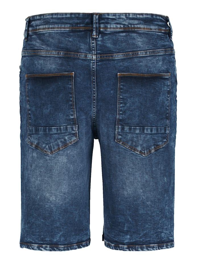 Džínsové bermudy s módnym spraným vzhľadom