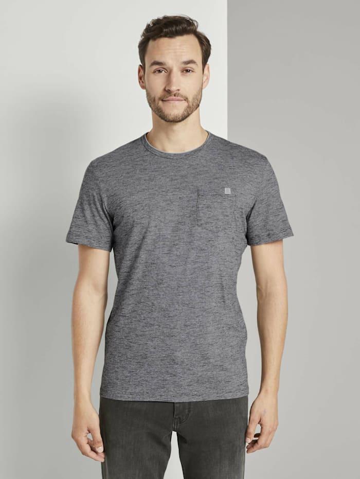 Tom Tailor Fein gestreiftes T-Shirt mit Brusttasche, black thin white stripe