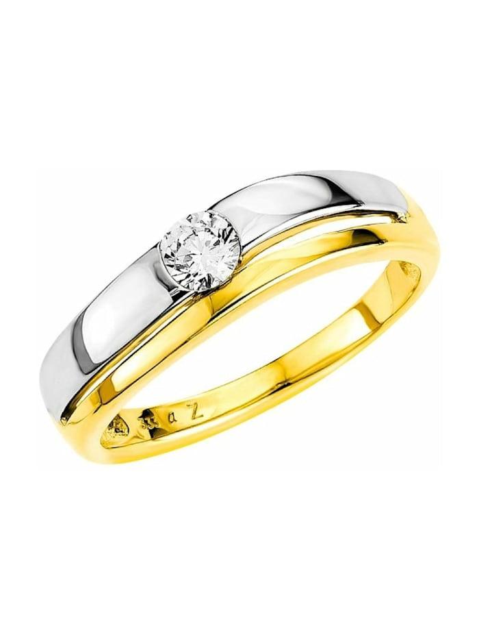 amor Ring für Damen, Gold 333, Zirkonia, Bicolor
