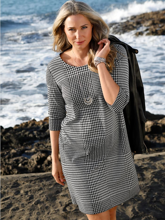 MIAMODA Kleid mit Glencheckmuster, Schwarz/Weiß