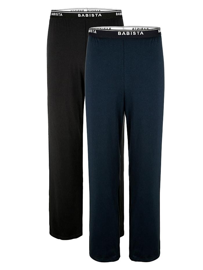 BABISTA Puuvillaiset pyjamahousut, Musta/Sininen