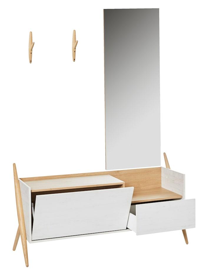 Germania Garderoben-Set inkl. Haken und Spiegel, natur/weiß