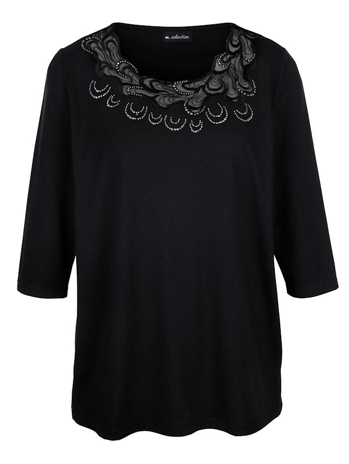 m. collection Shirt mit aufwendiger Spitzen-Verarbeitung vorne am Ausschnitt, Schwarz