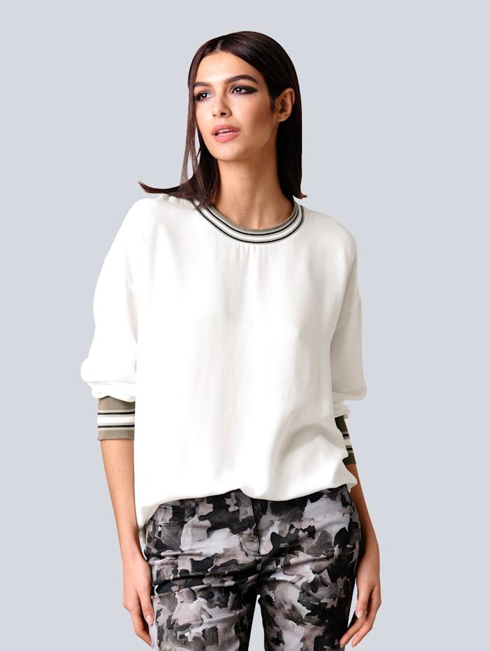 Alba Moda Bluse mit kontrastfarbiger Rippenblende, Off-white/Khaki
