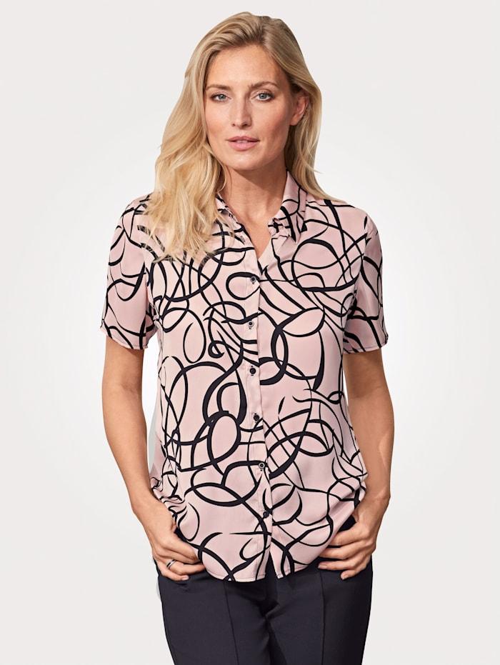 MONA Bluse mit grafischem Druck, Rosé/Schwarz