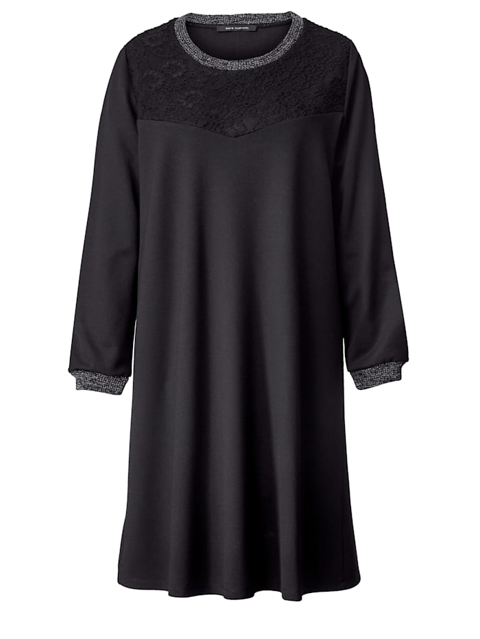 Jersey-Kleid mit Spitze