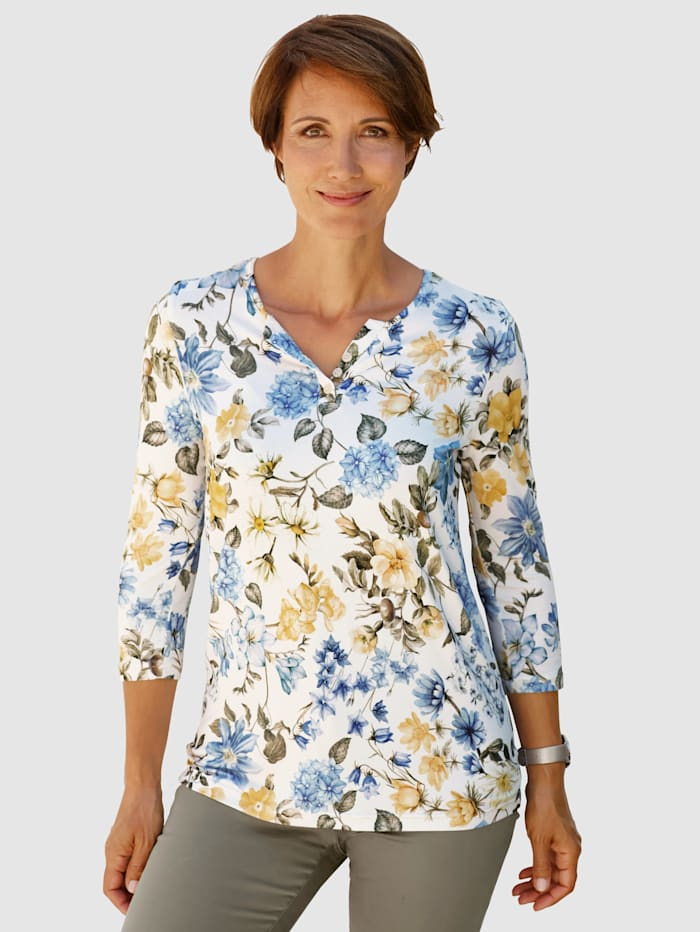 Paola Shirt mit Blumendruck, Ecru