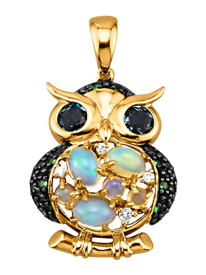 Eulen-Anhänger mit Opalen, Blautopasen, synth. Zirkonia und Tsavoriten, Blau