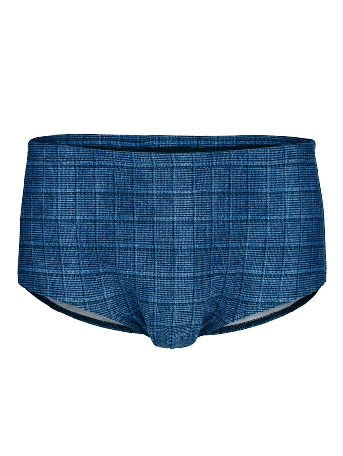 Schwab Bademoden Zwembroek met ruitpatroon, Blauw/Zwart