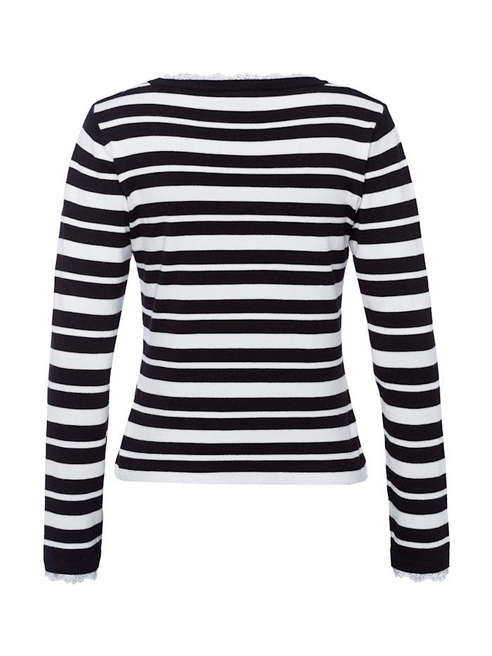 Streifenpullover, schwarz/weiß
