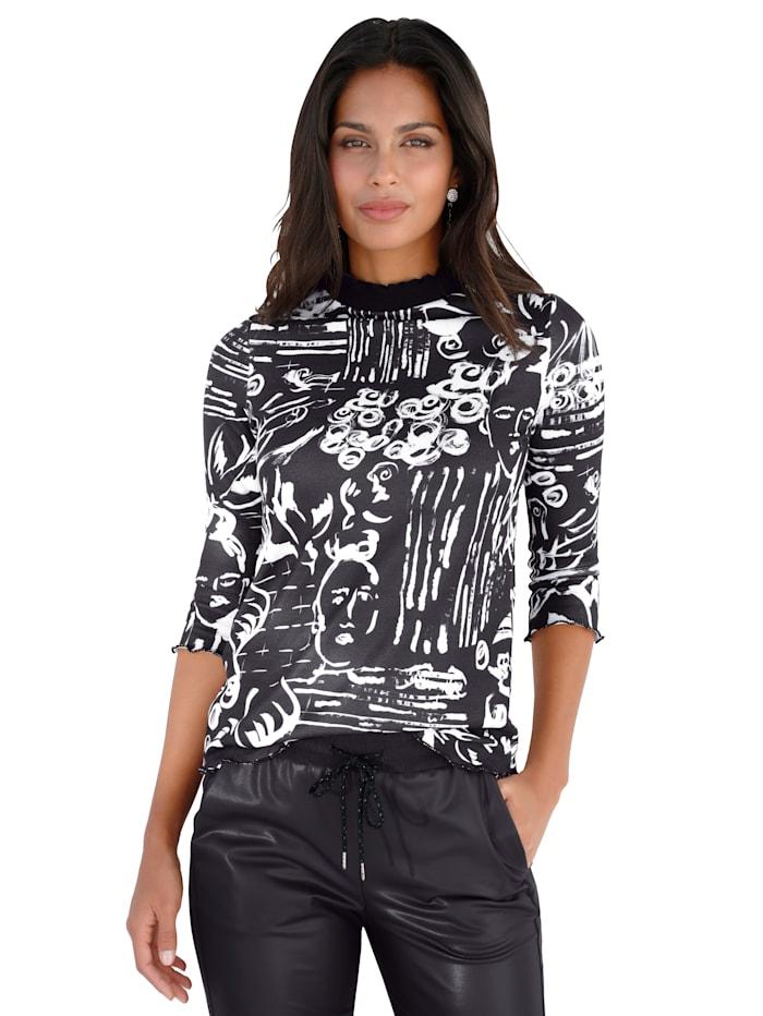 AMY VERMONT Shirt met scribble-print, Zwart/Offwhite