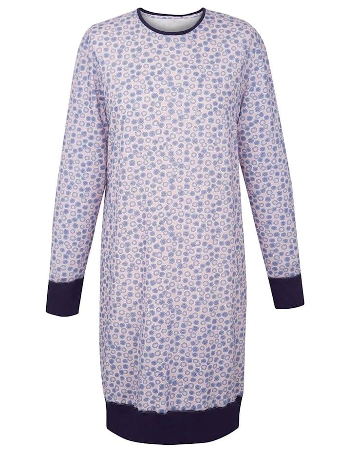 Cybèle Damen Langarm Nachthemd, lightrose bedruckt