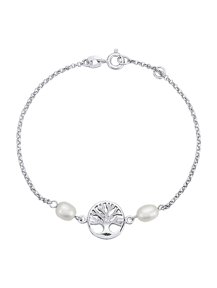 KLiNGEL Lebensbaum-Armband mit Süßwasser-Zuchtperlen, Silberfarben