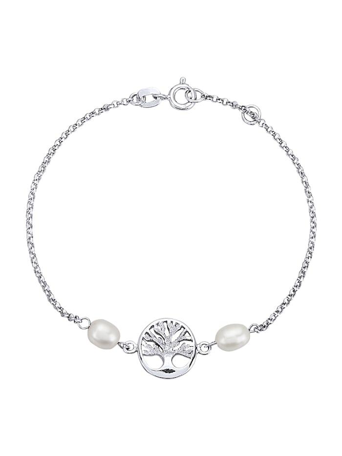 Lebensbaum-Armband mit Süßwasser-Zuchtperlen, Silberfarben
