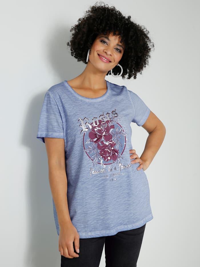 Angel of Style Shirt mit floralem Motiv, Hellblau