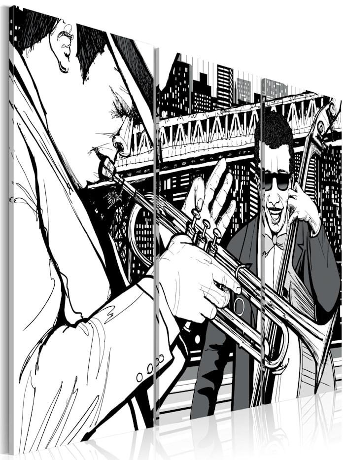 artgeist Wandbild Jazz-Konzert und New York-Wolkenkratzer im Hintergrund - Triptychon, schwarz-weiß
