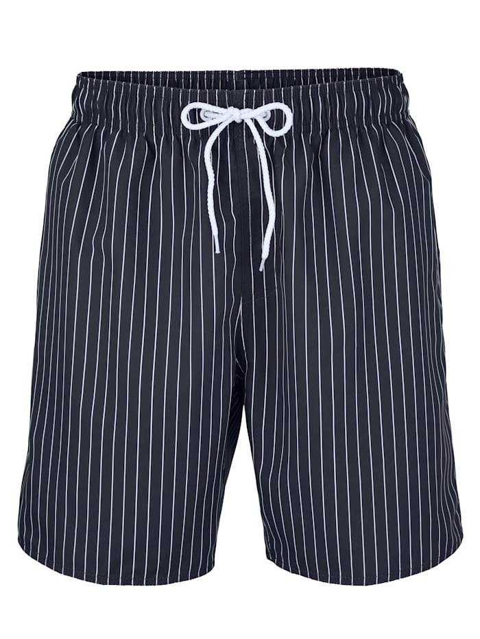 Maritim Badeshort in klassischem Design, Marineblau/Weiß