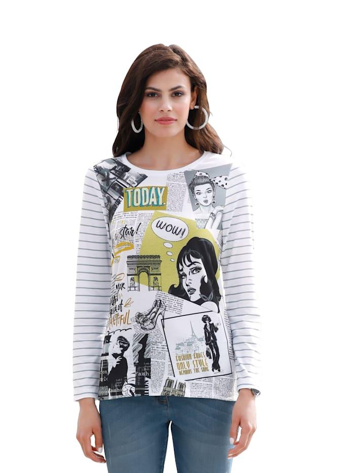 AMY VERMONT Shirt mit bedrucktem Vorderteil und im Streifendessin, Weiß/Schwarz/Gelb