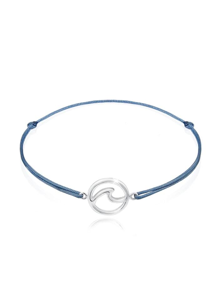 Elli Armband Welle Strand Maritim Nylon Band Trend 925Er Silber, Silber